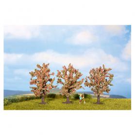 3 Fruktträd, blommande i rosa -Noch 25112