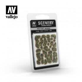 Vallejo-Grästuvor, bränt gräs