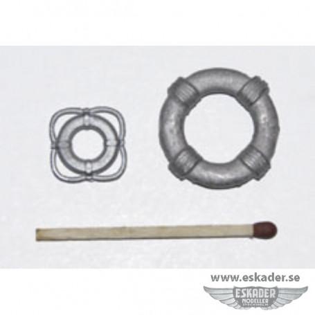Life rings, white metal